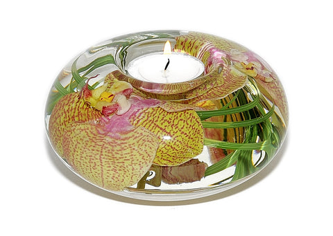 Yellow Pink Spotted Phalaenopsis Tea Light Holder (Large)
