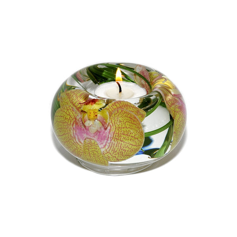 Yellow Pink Spotted Phalaenopsis Tea Light Holder (Small)