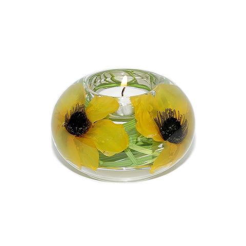 Yellow Poppies Tea Light Holder (Large)