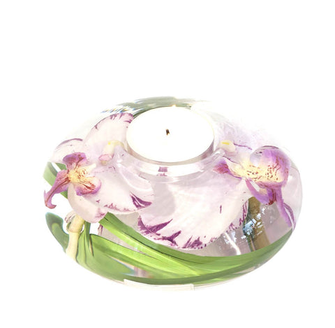 White Lavender Phalaenopsis Tea Light Holder (Large)