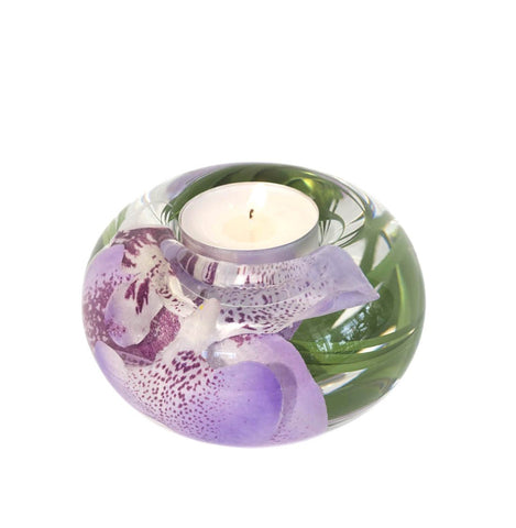 Lavender Spotted Phalaenopsis Tea Light Holder (Small)