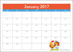 2017 Planner Pages - January version 3, Chinese New Year of the Rooster