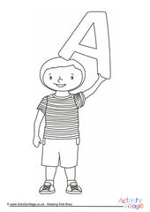 Alphabet of Children - Colouring Pages  - A Boy
