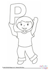 Alphabet of Children - Colouring Pages  - P Boy