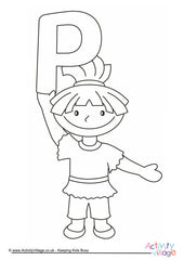 Alphabet of Children - Colouring Pages  - P Girl