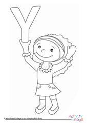 Alphabet of Children - Colouring Pages  - Y Girl