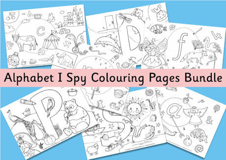 Alphabet I Spy Colouring Pages