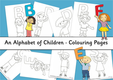 Alphabet of Children Colouring Pages