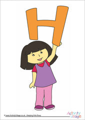 Alphabet Posters - Children - Girl H
