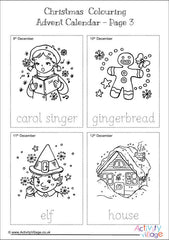 Christmas Colouring Advent Calendar - Pictures and Tracing Words example