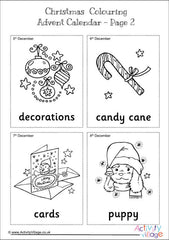 Christmas Colouring Advent Calendar - Pictures and Words example
