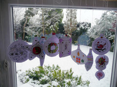 Christmas Ornaments Advent Calendar - Hanging in Window