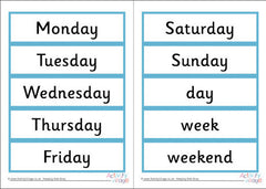Word cards - Days of the Week