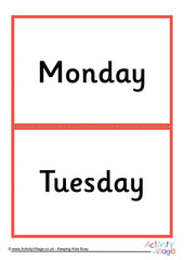 Days of the Week flash cards