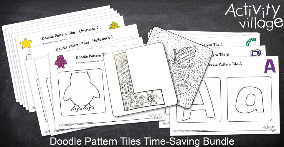Doodle Pattern Tiles Time-Saving Bundle Digital Download