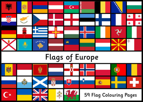 Flags of Europe - Colouring Pages