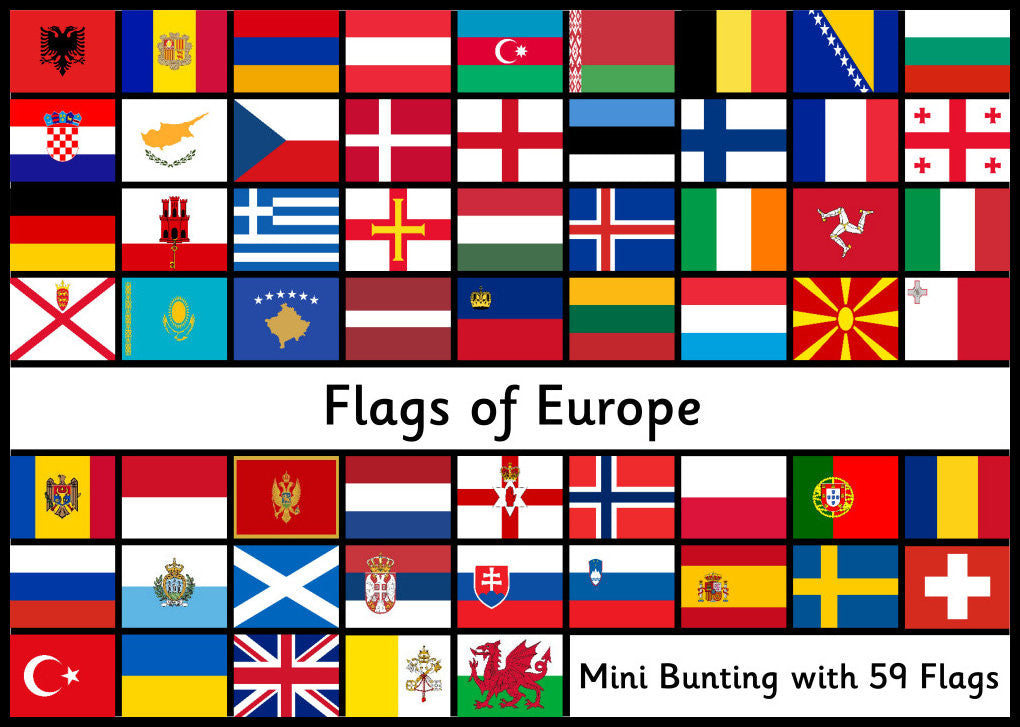 Flags of Europe - 59 Printable Flags for Mini Bunting