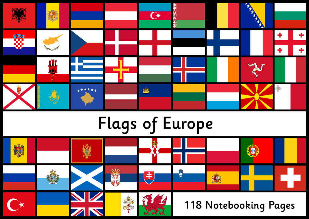 Flags of Europe - 118 Notebooking Pages