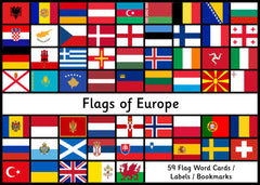 Flags of Europe - 59 Printable Word Cards