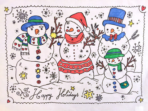 Happy Holidays Colouring Tea Towel