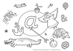 Little A I Spy colouring page