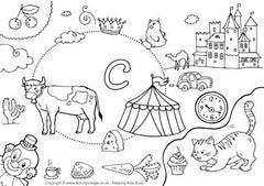 Lower case C I Spy colouring page