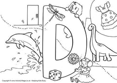 Capital D I Spy colouring page