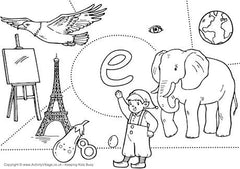 Little E I Spy colouring page
