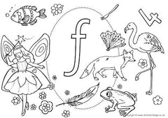 Lower case F I Spy colouring page