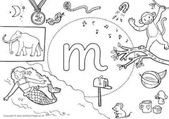 Little M I Spy colouring page