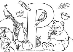 Capital P I Spy colouring page