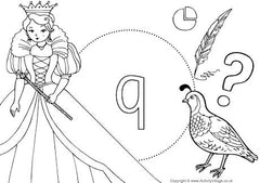Lower case Q I Spy colouring page