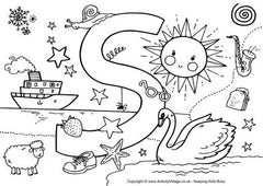 Upper case S I Spy colouring page