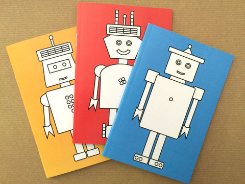 Robot Colour-the-Cover Notebooks - Pack of 3