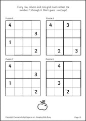 Sudoku for Kids - Example 4x4 Puzzles