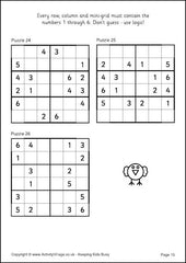 Sudoku for Kids - Example 6x6 Puzzles
