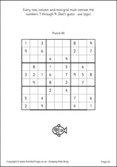Sudoku for Kids - Example 9x9 Puzzles