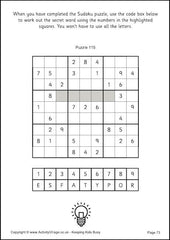 Sudoku for Kids - Example Hidden Code Puzzles