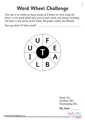 50 Word Wheel Challenges for Kids - Example Puzzle 1