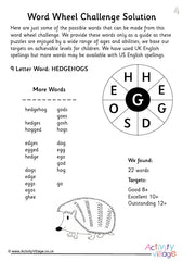 50 Word Wheel Challenges for Kids - Example Solution 2