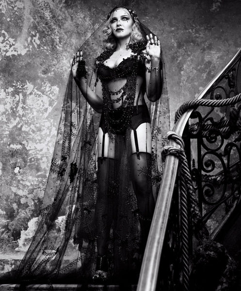 Madonna wears Maison Close in Harpers Bazaar