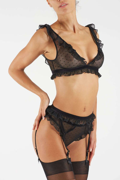 Atelier Amour - Black Thong - Sheer Lingerie - Naughty Knickers