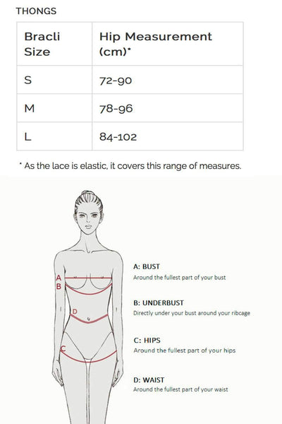 BRACLI Size Guide - Naughty Knickers