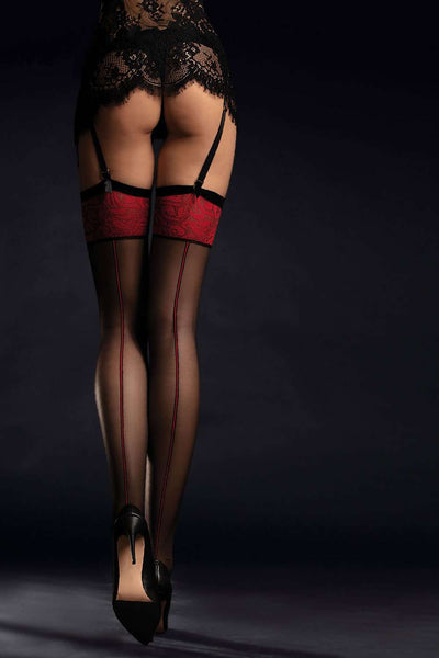 FiORE Sensual Scarlett Stockings - Patterned Belt Stockings - Naughty Knickers