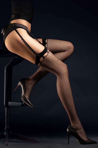 FiORE Fishnet Stockings - Black Patterned Stockings - Naughty Knickers
