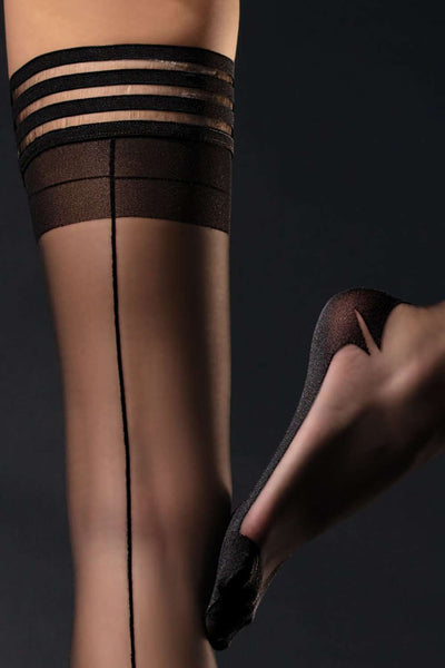 FiORE Cuban Heel Hold Ups - Black Stay Ups - Naughty Knickers