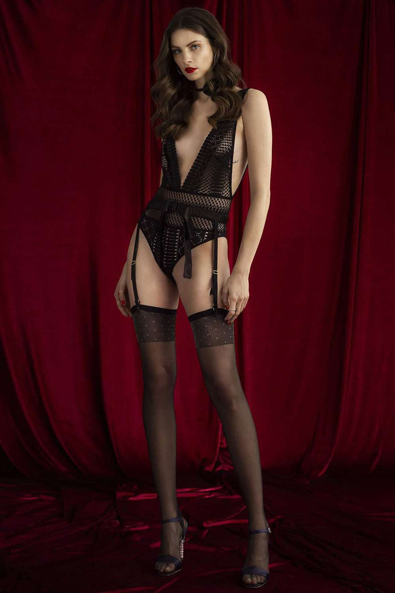FiORE - Misty Moon Stockings - Patterned Stockings - Naughty Knickers