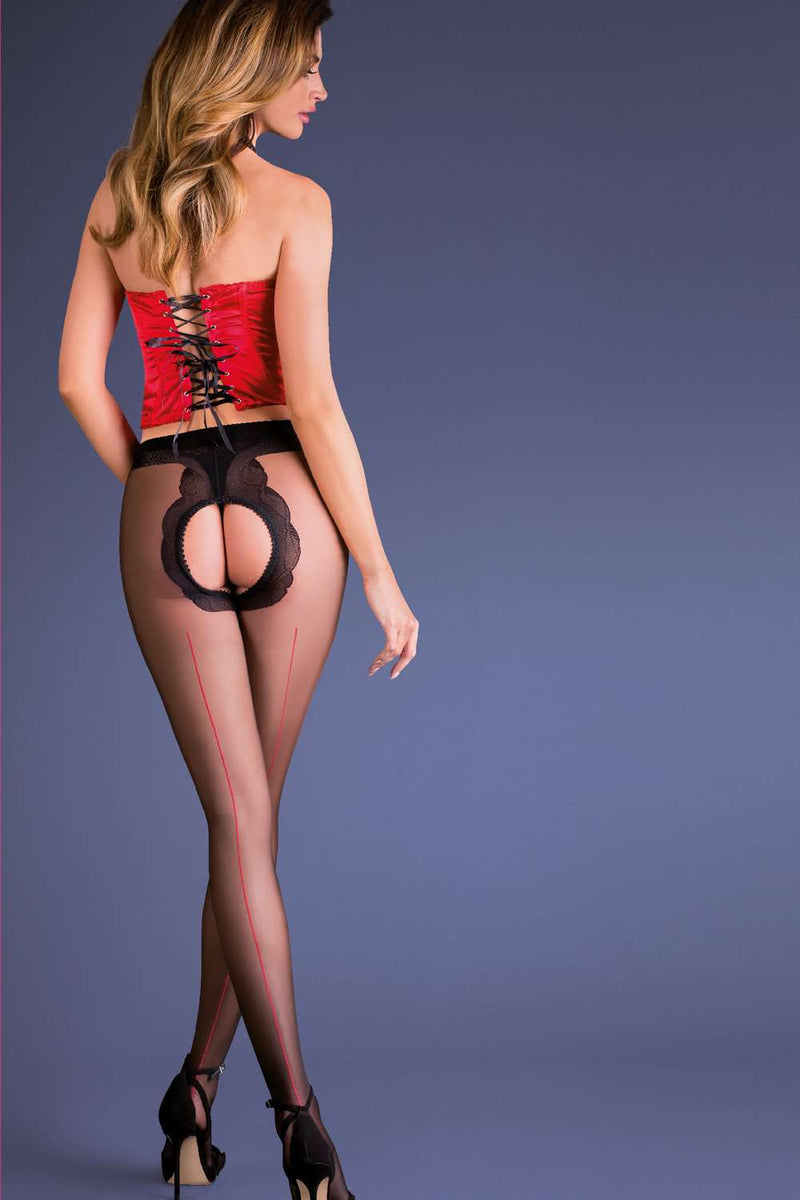 Gabriella Erotic Fiera Seamed Crotchless Tights