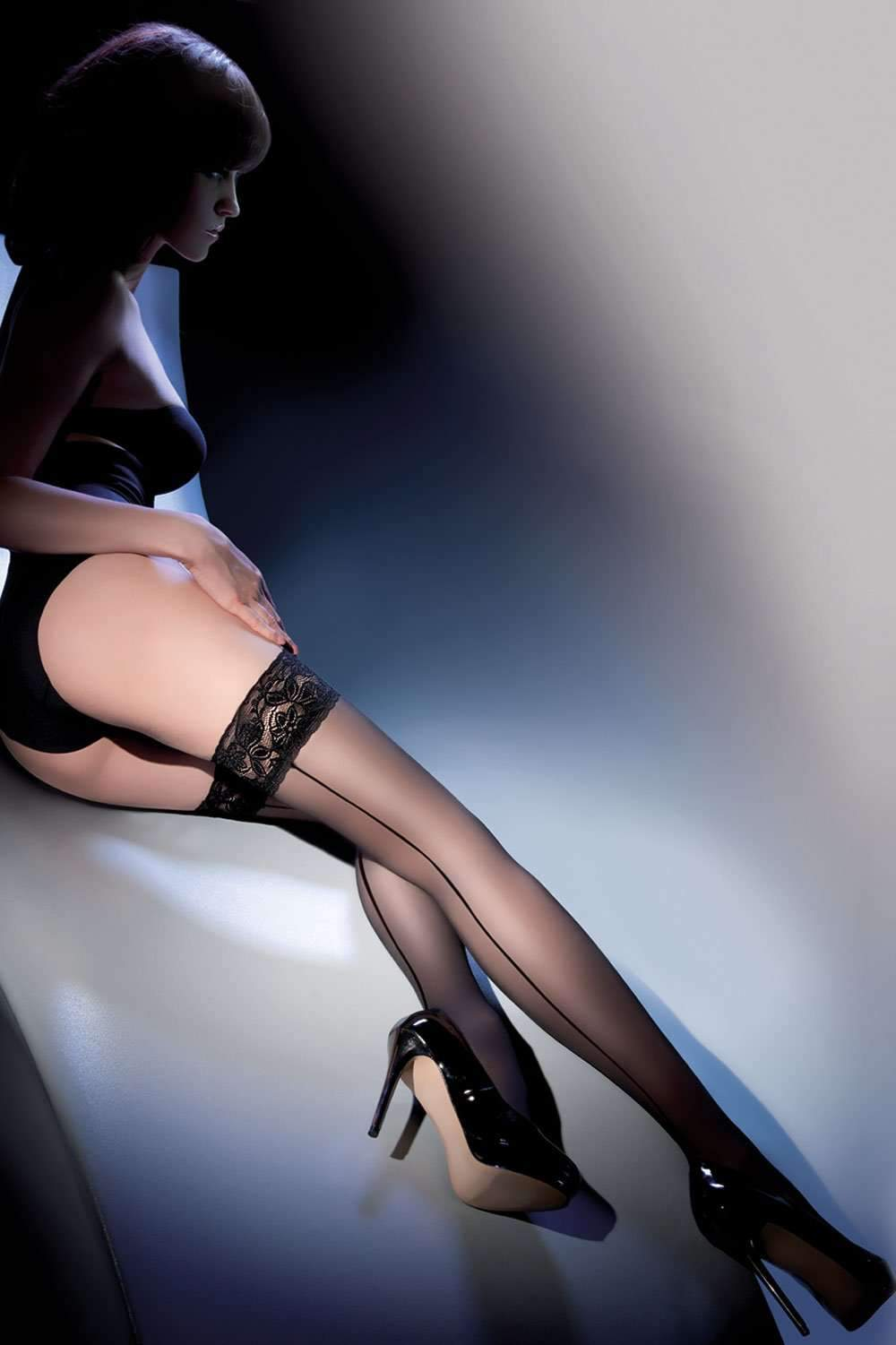 Gabriella Sheer Hold Ups - Seamed Stockings - Naughty Knickers