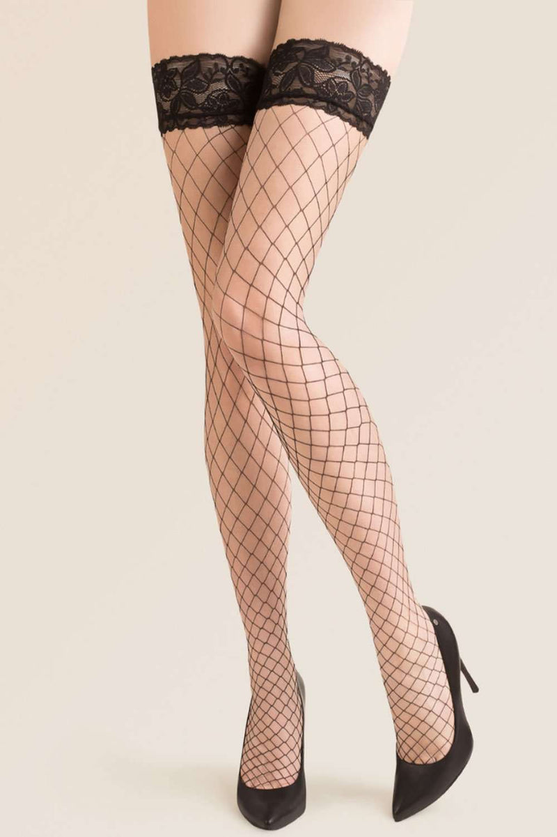 Gabriella Fishnet Stockings - Lace Hold Ups - Naughty Knickers
